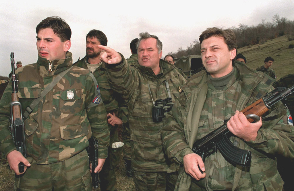 Ratko Mladic and his subordinates orchestrating their next attack